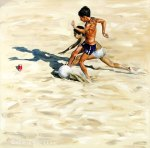 """""""Children Playing Football on the Beach"""", 2006, oil on canvas, 160x160cm"""