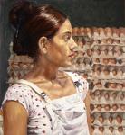 """""""Egg Seller"""", 2007, oil on linen, 89x81cm"""