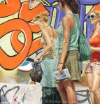 """Three Girls Standing by Graffiti"", 2008, oil on linen, 190x180cm"