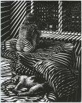 """Rainy Night"", 2009, linocut, 26.6x21cm"