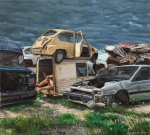 """Cementerio de coches"" (Cars Cemetery), oil on linen, 180x200cm"