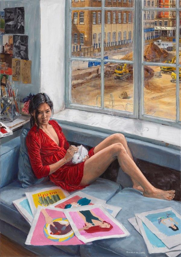 """L'Illustratrice"" (The illustrator), oil on linen, 162x114cm"
