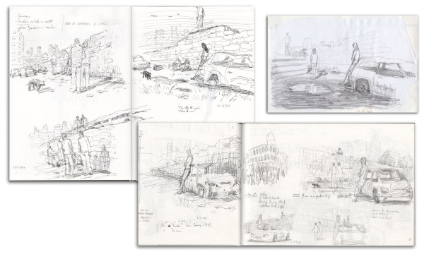 "These are some of the sketches that I used to develop the idea of ""The Other Side"". Research for locations, props and models came soon afterwards."