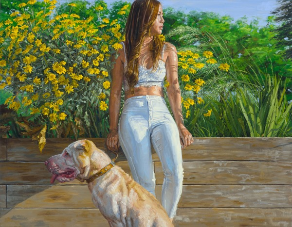 michele del campo, girl and dog,-114x146cm