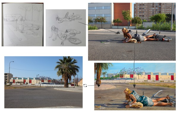 Some of the sketches that came to my imagination for the painting and the original picture of the model, posing according to my sketches. She is a neighbor in Valencia who so kindly volunteered to pose for me.