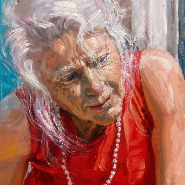 michele del campo, detail of The Fall-The elderly lady