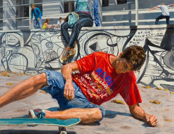 michele del campo, the fall- the skater, 65x85cm