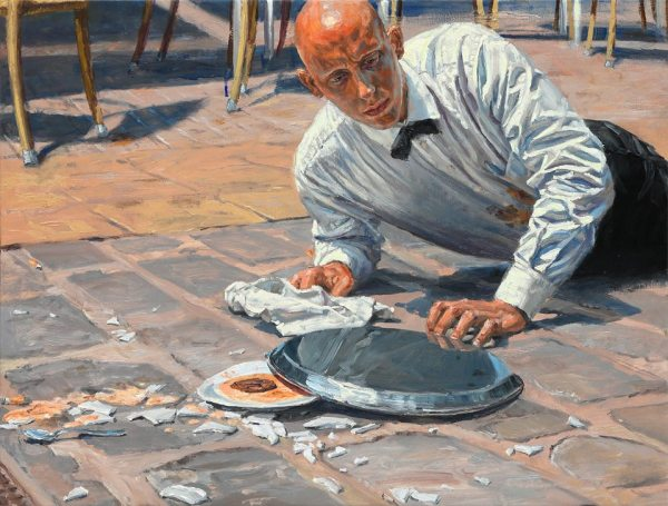 michele del campo, The fall-the waiter, 65x85cm
